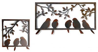 Vintage Rusty Effect Birds & Leaves Garden Wall Art Plaque Decoration Ornament
