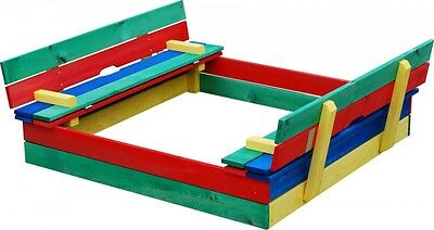 **CHILDRENS/KIDS MULTI COLOURED WOODEN SAND/PLAY/BALL PIT WITH LID & BENCHES**
