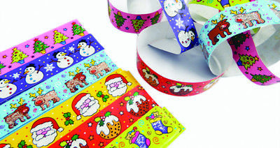 Christmas Glittery Paper Chains - Gummed (Pack of 120) Six Designs: Santa, etc. - Halloween Paper Chain Crafts