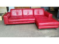 Pending Collection Red Leather Corner Sofa