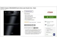 free - BOSCH Classixx HBN43B260B Electric Built-under Double Oven - Black RRP £739