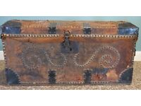 ANTIQUE STUDDED LEATHER TRUNK