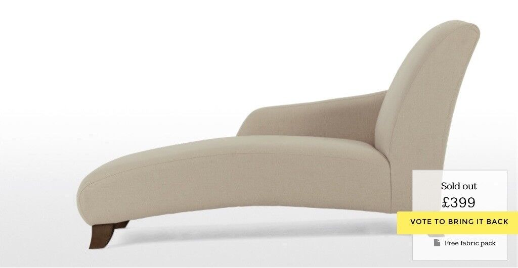 MADE COM Chaise Longue Sofa In Natural Linen