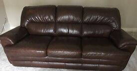 3-seater real leather sofa