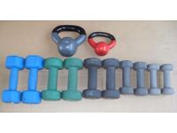 Mixed set small rubber coated dumbbells 30kg + kettle bells