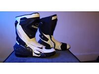 Black and white waterproof motorcycle boots