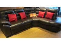 DFS LEATHER CORNER SOFA SWIVEL CHAIR AND FOOTSTOOL