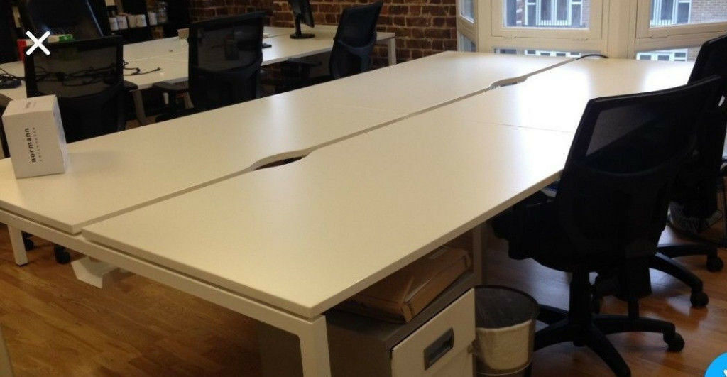 4 positions office workstation desk bench white