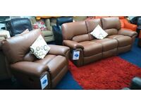 NEW*Top Quality Leather*Laz-Boy 3 seater recliner plus recliner chair*light brown*