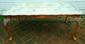 Mahogany coffee table, Queen Anne legs, glass top, restored/shabby chic
