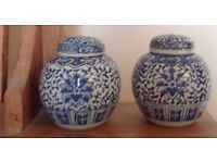 Two antique china pots with lids