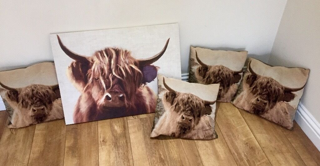 Next Highland Cow Canvas And 4 Matching Cushions In