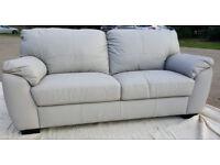 Brand New/Transport Damaged Milano 3 Seater Leather Sofa - Grey