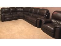 Brown leather corner unit sofa plus one single arm chair sofa