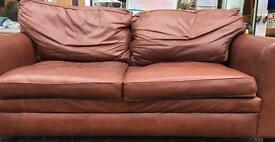 Real leather 3 seat sofa in good condition