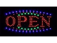 New LED OPEN Sign Board Flash / Static Light Shop Store Window Display Board Super Bright