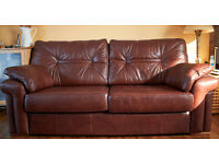 G Plan Leather Chestnut 3 piece suite with Footstool