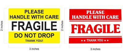 2 X 3 Fragile Sticker Do Not Drop Yellow Stickers Thank You Handle With Care