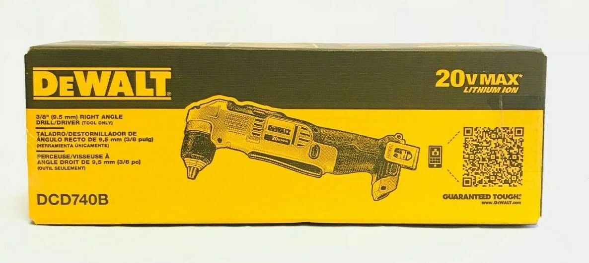 """Tool Only DeWalt DCD740B 20V MAX Lithium Ion 3//8/"""" Right Angle Drill//Driver"""