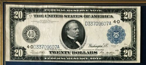 SERIES 1914 $20 VF/XF BEAUTIFUL FEDERAL RESERVE NOTE CLEVELAND WHITE/MELLON
