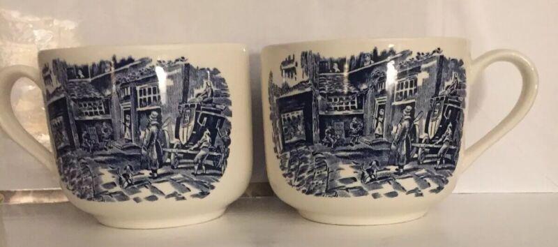 2 Royal Tudor Ware Coaching Taverns Staffordshire Oversized Coffee Mugs Tea Cups