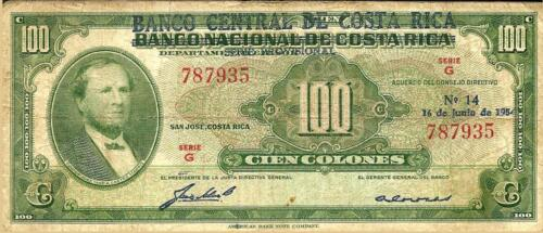 Costa Rica: 100 Colones 1954 BNCR, P-219a, Provisional Issue Banco Central