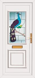 Oakwell Peacock stain glass uPVC door