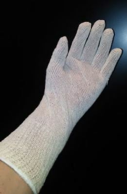 12 Pairs EXTRA LONG Natural  STRING KNIT GLOVES COTTON POLYESTER Adult One-Size Cotton Extra Long Gloves