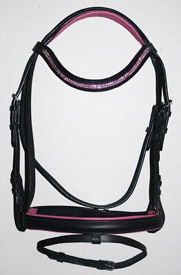 Pony Dressage Bridle - NEW PONY English Dressage Show Bridle Bright Pink U Shape Crystal Bling Browband
