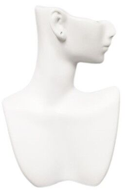 Ds-184 White Self-standing Abstract Jewelry Display Bust With Pierced Ear