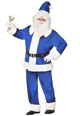 Blue Deluxe Father Xmas Santa Claus XL Christmas Fancy Dres Costume
