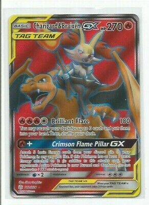 CHARIZARD & BRAIXEN GX 212/236 Full Art Ultra Rare Pokemon Card Cosmic Eclipse