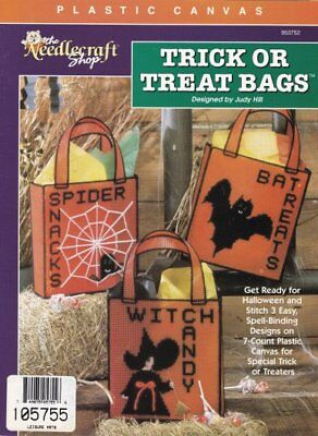 Trick or Treat Bags Plastic Canvas Witch Spider Bat Totes Halloween Patterns OOP](Halloween Tote Bag Craft)