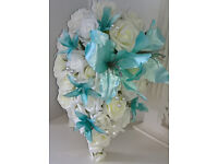 Tear-drop Bouquet Ivory Roses/ Turquoise Tiger Lilly