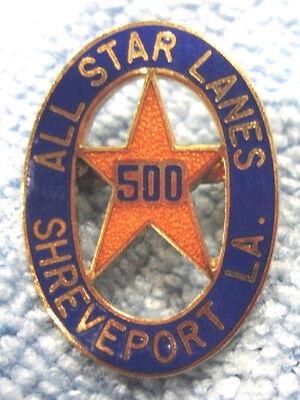 """ALL STAR LANES SHREVEPORT LA 500"" METAL/ENAMEL LAPEL/HAT PINBACK BOWLING PIN"