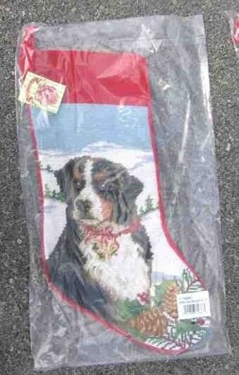 Large Stocking BERNESE MOUNTAIN DOG Needlepoint Christmas Holiday Stocking