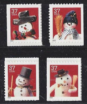US Scott # 3688 - 3691 /  Christmas Snowmen 2002 Singles from BK 293 Vending  (Christmas Snowmen)