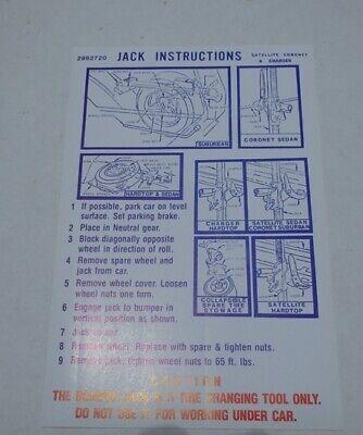 Mopar 71 Roadrunner GTX Charger Jack Instructions Decal NEW 2962720 DD0127