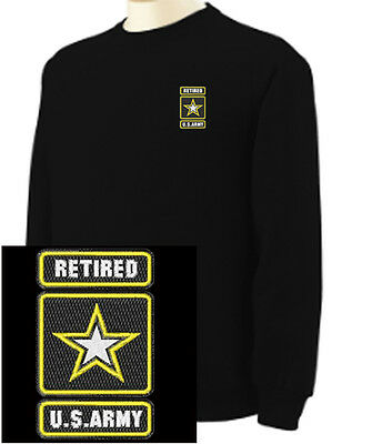 Army Logo Hooded Sweatshirt - US Army Retired Star Logo Military  EMBROIDERED Black Sweatshirt New