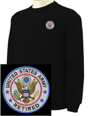 Army Logo Hooded Sweatshirt - US Army Retired Logo Military  EMBROIDERED Black Sweatshirt New