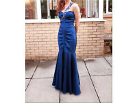 Blue fishtail prom gown