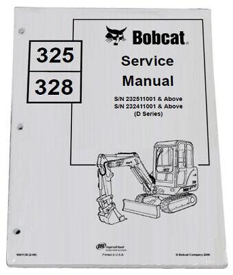 Bobcat 325 328 Compact Excavator Service Manual Shop Repair Book 4 Pn 6901138