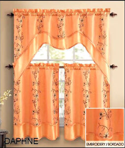 orange kitchen curtains ebay