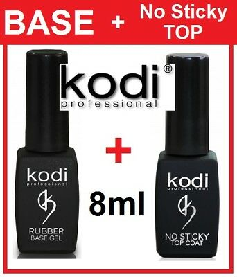 BEST SET! Rubber Base + No Sticky Top 8ml. Kodi Professional Gel Coat