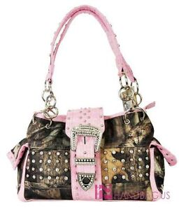 MOSSY OAK Camo Camouflage Western Studded Belt Pocket Tote Handbag Purse Pink