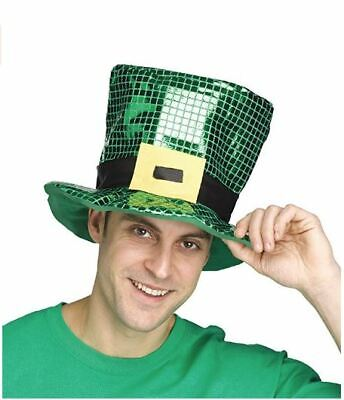 St Patrick's Day Green Shamrock Sequin Top Hat Unisex Party Hat Fun Accessories - St Patrick's Day Accessories
