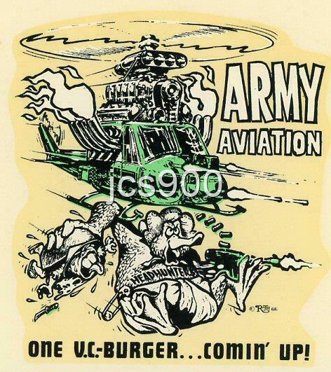 "VINTAGE ORIGINAL 1966 ED ROTH RAT FINK ""ARMY AVIATION"" WATER DECAL VIETNAM RARE"