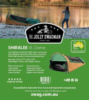 Jolly Swagman Shiralee Xtra Top Entry Dome Swag - BRAND NEW