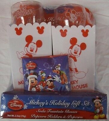 MICKEY MOUSE POPCORN BOWL SODA GLASS GIFT SET collectible disney minnie G87m ()