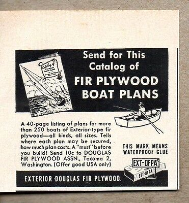 1954 Phrasing Ad Fir Douglas Plywood Boat Plans Tacoma,WA